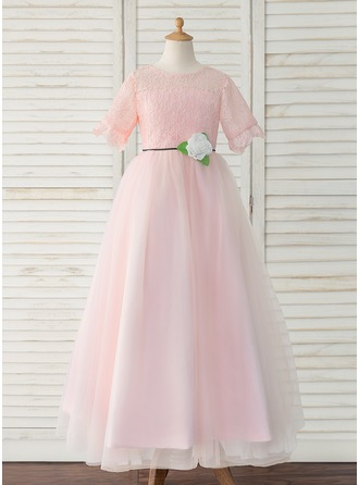 A-Line Floor-length Flower Girl Dress - Tulle/Lace Short Sleeves Scoop Neck With Flower(s)/Back Hole
