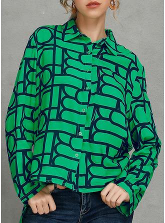 Geometric Print Lapel Long Sleeves Button Up Shirt Blouses