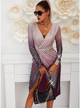 Sequins Sheath Long Sleeves Midi Party Elegant Dresses