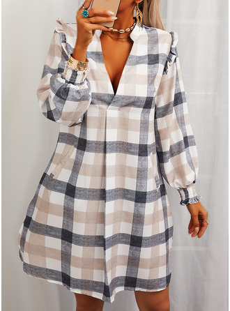 Plaid Shift Long Sleeves Mini Casual Tunic Dresses