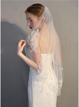 Uno capa Corte de borde Yema del dedo velos de novia
