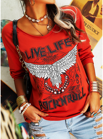 Figure Animal Print V-Neck Long Sleeves Casual T-shirt (1003250607)