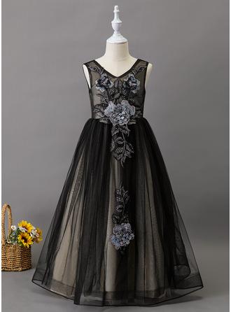 De Baile/Princesa Longos Vestidos de Menina das Flores - Tule Sem magas Decote V com Renda/Beading