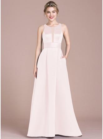 A-Linie U-Ausschnitt Bodenlang Satin Brautjungfernkleid mit Taschen