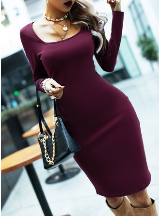 Solid Bodycon Long Sleeves Midi Casual Pencil Dresses