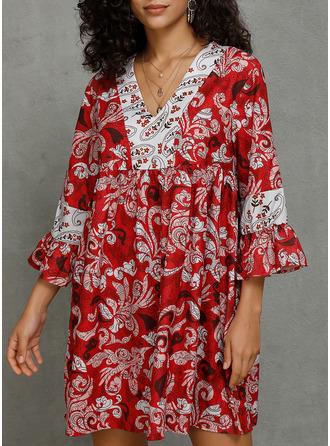 Print Shift 3/4 Sleeves Flare Sleeve Mini Casual Tunic Dresses