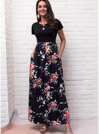 Blommig Print A-linjeklänning Korta ärmar Maxi Fritids skater Modeklänningar