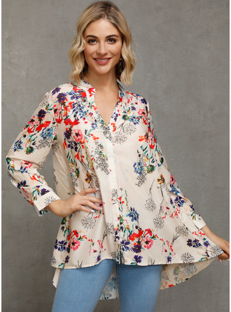 Floral Print V-Neck 3/4 Sleeves Button Up Casual
