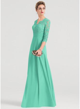 Sheath/Column V-neck Floor-Length Chiffon Evening Dress