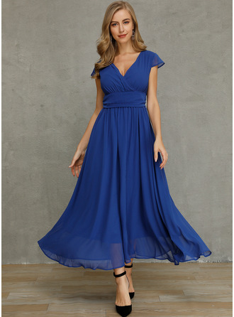 Solid A-line Short Sleeves Maxi Casual Skater Dresses