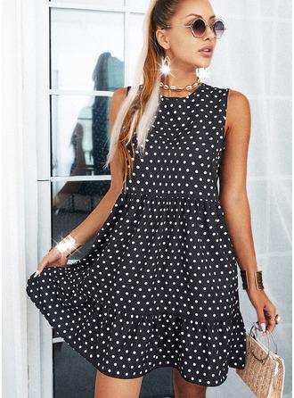 PolkaDot Shift Sleeveless Mini Casual Dresses