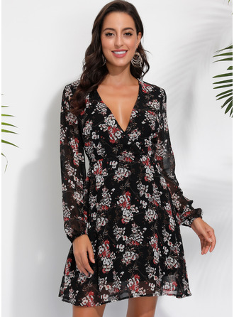 Floral A-line Long Sleeves Midi Casual Dresses