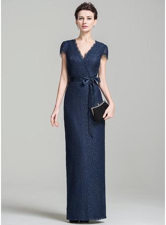 Sheath/Column V-neck Floor-Length Lace Evening Dress With Bow(s)