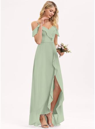 A-Line V-neck Asymmetrical Chiffon Bridesmaid Dress With Cascading Ruffles