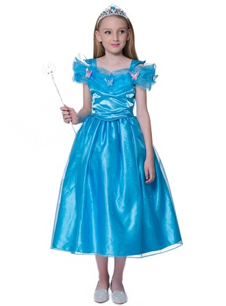 A-Line/Princess Tea-length Flower Girl Dress - Polyester Sleeveless Bateau