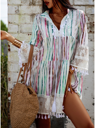 レース 印刷 シフトドレス 3/4袖 フレアスリーブ ミニ カジュアル 休暇 ファッションドレス