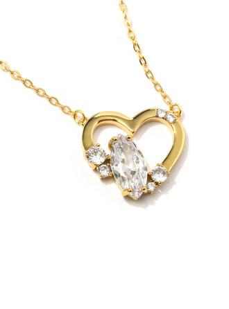 Damen Herzförmige Kupfer/Zirkonia mit Oval Zirkonia Halsketten Für Sie