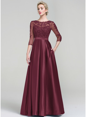 Ball-Gown Scoop Neck Floor-Length Satin Evening Dress
