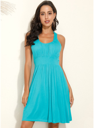Above Knee Strap Polyester Solid Sleeveless Fashion Dresses