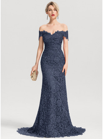 Trumpet/Mermaid Off-the-Shoulder Sweep Train Lace Evening Dress
