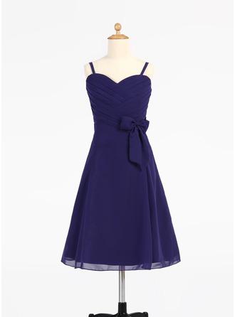 A-Linie/Princess-Linie Herzausschnitt Knielang Chiffon Kleid für junge Brautjungfern mit Rüschen Schleife(n)