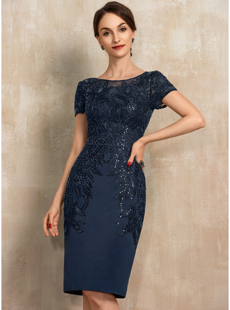 Sheath/Column Scoop Neck Knee-Length Satin Lace Mother of the Bride Dress With Sequins