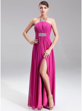 Empire Halter Floor-Length Chiffon Holiday Dress With Ruffle Beading Split Front