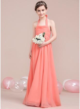 A-Linie/Princess-Linie Träger Bodenlang Chiffon Kleid für junge Brautjungfern mit Rüschen Schleife(n)