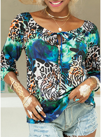 Leopard Off the Shoulder Long Sleeves Casual