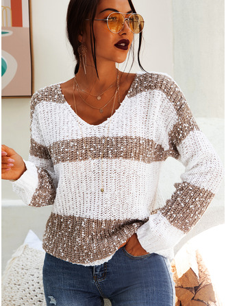 V-Neck Casual Color Block Chunky knit Sweaters