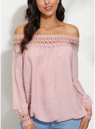 Perlen Spitze Einfarbig Off-Schulter Lange Ärmel Lässige Kleidung Elegant
