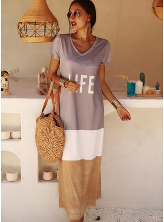 Color Block Print Shiftklänningar Korta ärmar Maxi Fritids t-shirt Modeklänningar