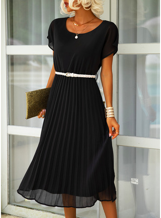 Solid A-line Short Sleeves Midi Casual Dresses