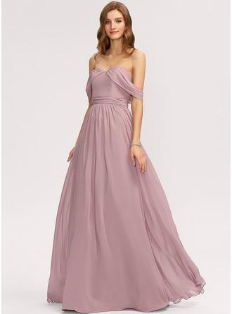 Трапеция Выкл-в-плечо Длина до пола шифон Платье Подружки Невесты