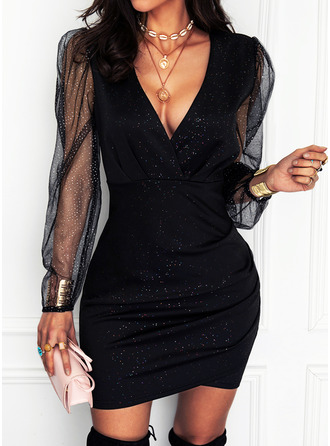 pailletten Solide Bodycon Lange Mouwen Mini Zwart jurkje Party Elegant ()