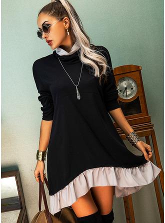 Color Block Shiftklänningar Långa ärmar Mini Fritids Tunika Modeklänningar