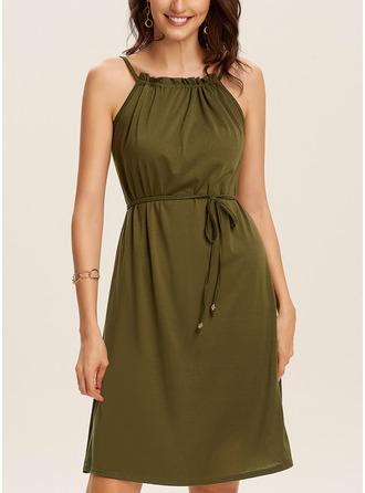 Solid Sheath Sleeveless Mini Casual Vacation Type Dresses