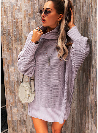 Turtleneck Casual Long Solid Sweaters