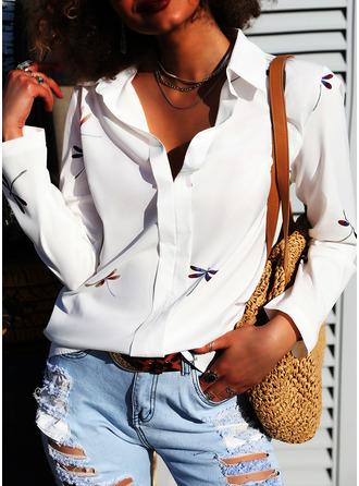 Animal Print Lapel Long Sleeves Casual Shirt Blouses