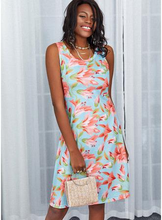 Floral Estampado Bainha Sem mangas Midi Casual Vestidos na Moda