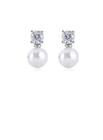Con estilo Aleación Diamantes de imitación La perla de faux con Perlas de imitación Rhinestone De mujer Pendientes de la manera (Sold in a single piece)