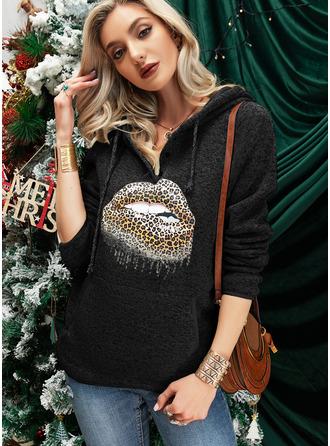 Stampa leopardo Maniche lunghe Con Cappuccio