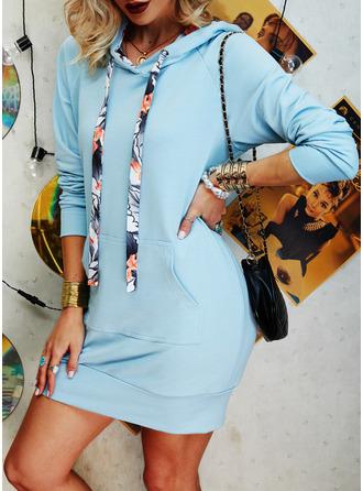 Solid Manşon Mâneci Lungi Mini gündelik Kazak Moda Elbiseler