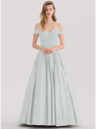Corte de baile/Princesa Fuera del hombro Hasta el suelo Satén Vestido de baile de promoción con Cuentas Lentejuelas
