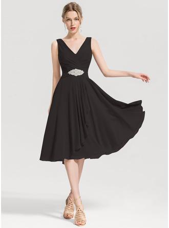 A-Line V-neck Knee-Length Chiffon Cocktail Dress With Beading Cascading Ruffles