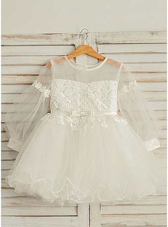 A-Line/Princess Knee-length Flower Girl Dress - Satin/Tulle Long Sleeves Scoop Neck With Ruffles/Sash/Appliques