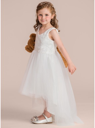 A-Line/Princess Asymmetrical Flower Girl Dress - Tulle/Lace Sleeveless V-neck With Beading/Flower(s)