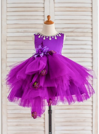 Ball Gown Knee-length Flower Girl Dress - Tulle Sleeveless Scoop Neck With Flower(s)/Rhinestone
