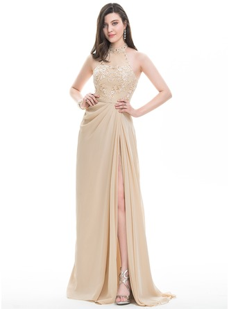 A-Line/Princess Scoop Neck Sweep Train Chiffon Prom Dress With Ruffle Beading Sequins Split Front