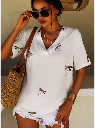 Animal Print Short Sleeves Polyester V Neck Blouses Blouses